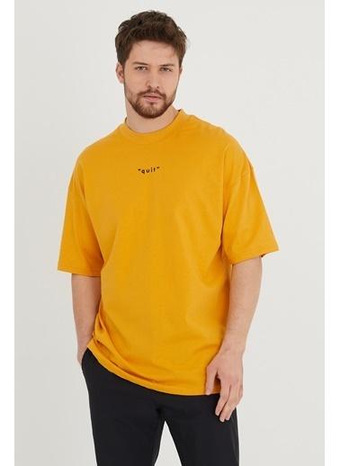 XHAN Su Yeşili Baskılı Oversize T-Shirt  Hardal